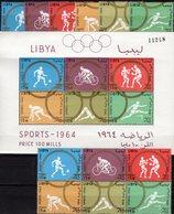 Perf. Olympiade Tokyo 1964 LIBYA 166/1,ZD+Block 8 ** 38€ Fußball Hürden Radsport Sprung S/s Blocs Sheets Bf Olympic - Summer 1964: Tokyo