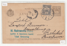 Hungary - Croatia, M. Radmanović Spedition Pre-printed Postal Stationery Travelled 1901 Fiume To Rohitsch B190110 - Croatia