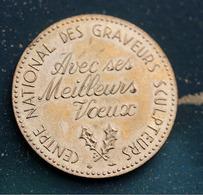 """Jeton De La Monnaie De Paris """"Centre National Des Graveurs Sculpteurs / Avec Ses Meilleurs Voeux"""" - Professionnels / De Société"""