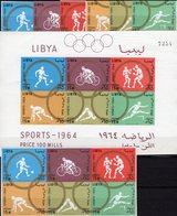Imperf.Olympiade Tokyo 1964 LIBYA 166/1,ZD+Block 8 ** 39€ Fußball Hürden Radsport Sprung Ss Blocs Sheets Bf Olympic - Libya