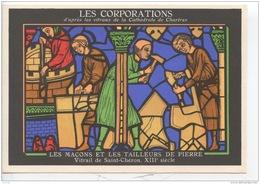 METIERS - LES CORPORATIONS LES MACONS ET LES TAILLEURS DE PIERRE VITRAIL DE ST CHERON - CHROMO PUB ASPIRINE/ - Old Paper