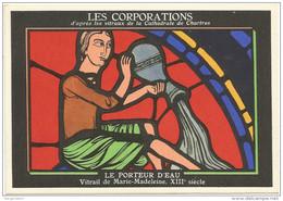 METIERS - LES CORPORATIONS LE PORTEUR D'EAU VITRAIL DE MARIE MADELEINE - CHROMO PUB ASPIRINE/ - Old Paper