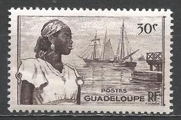Guadeloupe 1947. Scott #191 (M) Basse-Terre Harbor And Woman * - Neufs