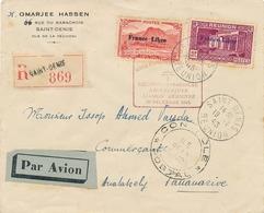 REUNION - FRANCE LIBRE REOUVERTURE LIGNE MADAGASCAR - CENSURE - LETTRE RECOMMANDÉE AVION 19/12/43 TANANARIVE - Réunion (1852-1975)