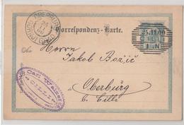 Austria - Slovenia, Postal Stationery Dopisnica Travelled 1900 Cilli (Celje) To Gornji Grad (Oberburg) B190110 - Slovénie