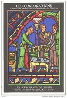 METIERS - LES CORPORATIONS LES MARCHANDS DE TISSUS VITRAIL DE SAINT JACQUES  - CHROMO PUB ASPIRINE/ - Old Paper