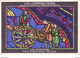 METIERS - LES CORPORATIONS LES MAREYEURS VITRAIL DE SAINT ANTOINE - CHROMO PUB ASPIRINE/ - Old Paper
