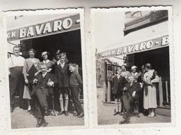 Personnes Devant Café Bock Bavaro - à Situer - 2 Photos Format 6 X 9 Cm - Lieux