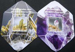 Schweiz Suisse 2014: Cristallography (Epidot & Amethyst) Zu 1499-1500 Mi 2334-35 Yv 2260-61 Auf 2 MK - Minéraux