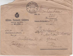 MILAN Lettre Posta Estera Milano Courrier étranger Milan Officio Censura Militare Bureau Censure Cachets De Cire - 1900-44 Vittorio Emanuele III