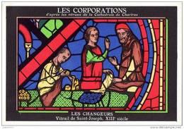 METIERS - LES CORPORATIONS LES CHANGEURS -  VITRAIL DE SAINT JOSEPH - CHROMO PUB ASPIRINE/ - Old Paper