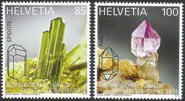 Schweiz Suisse 2014: Cristallography (Epidot & Amethyst) Zu 1499-1500 Mi 2334-35 Yv 2260-61 ** MNH - Minéraux