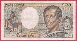 """200 Francs """"Montesquieu"""" 1989 ----VG/TTB---Série H.065 - 1962-1997 ''Francs''"""