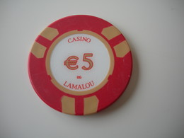 Casino Chip Fiche 5€  Casino De Lamalou Les Bains France - Casino