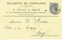 CP/PK Publicitaire BRUXELLES 1902- E. DUVAL & SOEUR - Librairie - Belgium
