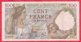 """100 Francs """"Sully"""" Du 23/04/1942.AX ----F/TTB+---Série S.30298---AUCUN TROU D EPINGLE - 1871-1952 Anciens Francs Circulés Au XXème"""