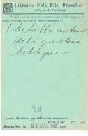 CP/PK Publicitaire BRUXELLES 1908 - FALK Fils- Librairie - Belgium