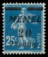 MEMEL 1920 Nr 20b Ungebraucht X887686 - Memelgebiet