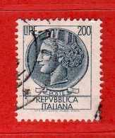 Italia °- 1968 - SIRACUSANA Lire 200 .  Unif. 1084.  Vedi Descrizione. - 1961-70: Gebraucht