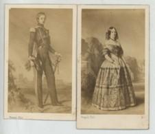 2 CDV 1860-70 Franck à Paris . Duc Et Duchesse De Montpensier D'après Tableaux . - Photos