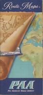 ROUTE MAPS - CARTE DE NAVIGATION AÉRIENNE A TRAVERS LE  MONDE - PPA - PAN AMERICA WORLD AIRWAYS. - Cartes