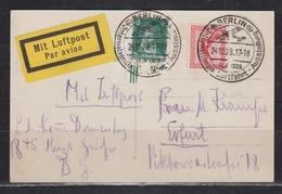 Dt.Reich Luftpost-SSt Berlin ILA 1928 Internationale Luftfahrt-Ausstellung 24.10.28 Auf Fotokarte MiF 379,389 - Luftpost