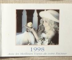 Petit Calendrier Poche 1998 Lavigne PTT Facteur  Fillette Et Poussin - Calendars