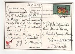 """Beau Timbre , Stamp """" Papillon """" Sur Cp , Carte , Postcard Du 26/05/1995 Pour La France - Tunisie (1956-...)"""