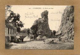 CPA - CHERBOURG (50) - Aspect De La Carrière De Pierres ,du Chariot-lorry Et Du Café De La Roche Qui Pend En 1910 - Cherbourg