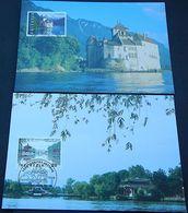 "Schweiz Suisse 1998: Zu 958-959 Mi 1667-68 Yv 1597-8 ""Château De Chillon & Narrow West-Lake"" Auf 4 MK Officiel+Philswiss - Emissions Communes"
