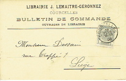CP Publicitaire COURCELLES 1908 - J. LEMAITRE-GERONNEZ - Librairie - Courcelles