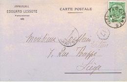 Carte Postale Publicitaire FARCIENNE 1909 - Entête Imprimerie EDOUARD LESSOYE à FARCIENNES - Farciennes
