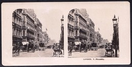 PHOTO STEREOSCOPIQUE - LONDON - PICADILLY - VERY ANIMATED !! édit. Steglitz Berlin 1906 - Stereoscopic