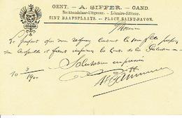 CP/PK Publicitaire GENT 1900  - W. SIFFER - Drukker - Uitgever - Boekhandelaar - Gent