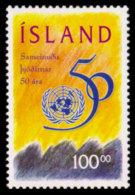 Iceland, 1995, United Nations 50th Anniversary, MNH, Michel 837 - Islande