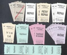 45, Orleans, Cantine P.T. Ensemble De 25 Tiquets, Repas, Petit Repas, Biere, Supplement, Vin, Supplement Viande - Tickets D'entrée