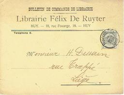 CP/PK Publicitaire HUY 1908 - LIBRAIRIE FELIX DE RUYTER - Libraire - Editeur - Huy