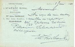 CP/PK Publicitaire IXELLES-BRUXELLES 1910 - Librairie-Papeterie De L'ATHENEE ROYAL - EDITIONS - Mme Jules THIEBAUT - Elsene - Ixelles
