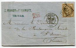 RC 11333 FRANCE N° 56 SUR LETTRE DE TROYES AUBE POUR UNE BOULANGERIE A ST IMIER EN SUISSE EN 1873 - Marcofilia (sobres)