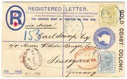 1895 R-Ganzsachenbrief Aus Akuse über Accra, Liverpool Nach Stuttgard - Côte D'Or (...-1957)