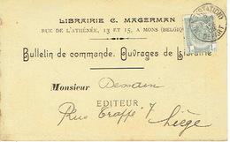 CP/PK Publicitaire MONS 1906 - C. MAGERMAN - Librairie - Mons