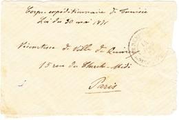 1881 Corps-expéditionnaire De Tunis/Loi Du 30 Mai 1871; Stempel Bridge 3E De Renfort Tunesie Nach Paris - Tunisie (1956-...)