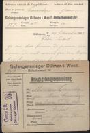 Guerre 14 Prisonnier Français à Dülmen Westfallié Enveloppe Formulaire Censure Gepruft Kommandantur Gef Lager Dulmen - Guerre De 1914-18