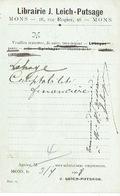 CP Publicitaire MONS 1908 - LIBRAIRIE J. LEICH-PUTSAGE - Mons
