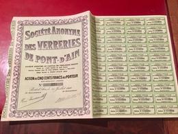 S.A.  Des  VERRERIES  De  PONT - D' AIN --------Action  De  500 Frs - Industrie