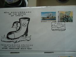 GREECE COVER  40TH  ANNIV. BATLLE OF CRETE  WW2 XANIA 1981 - Cartoline Maximum