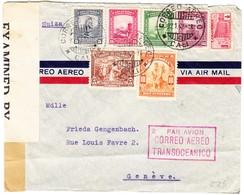 1942 Zensurierter Flugbrief Aus Cali Nach Genf; Stempel: Transatlantik Post: Bedarfspuren - Colombie