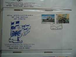 GREECE COVER   40TH  ANNIV. BATLLE OF CRETE  WW2 RETHYMNO 1981 - Seconda Guerra Mondiale