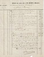 Etat Des Frais Dûs à Me BURNY, Huissier à GEMBLOUX - 1800 – 1899