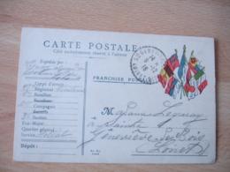 Guerre 14.18  Edikz 6 Drapeaux Cote Gauche Facteur Boitier Sainte Genevieve Des Bois   Carte Franchise Militaire - Postmark Collection (Covers)